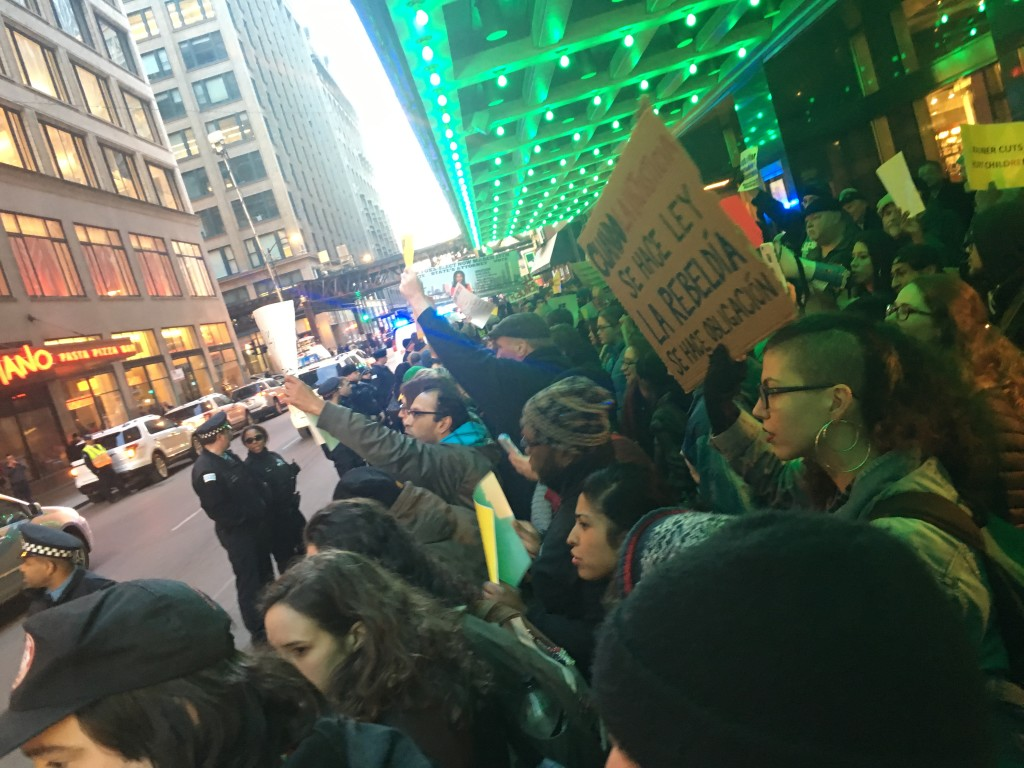 Anti-Rauner Protesters at the Palmer House, Friday, March 11, 2016